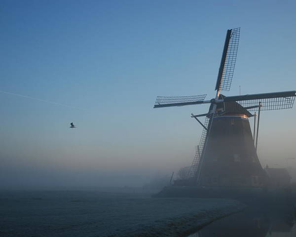 Dawn Poster featuring the photograph Mill At Dawn by Hans Kool