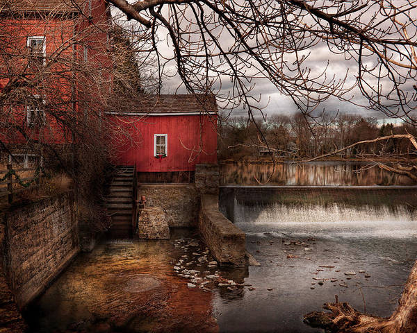 Savad Poster featuring the photograph Mill - Clinton Nj - The Mill And Wheel by Mike Savad