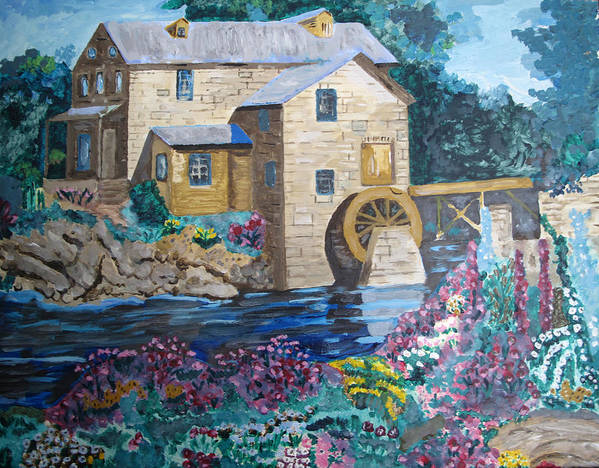 Stone Poster featuring the painting Mill River by Keith Bagg