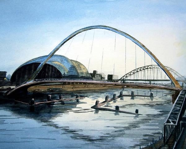 Bridge. River. Tyne. Newcastle. England. Uk. Poster featuring the painting Millenium Bridge. Newcastle Upon Tyne. by John Cox