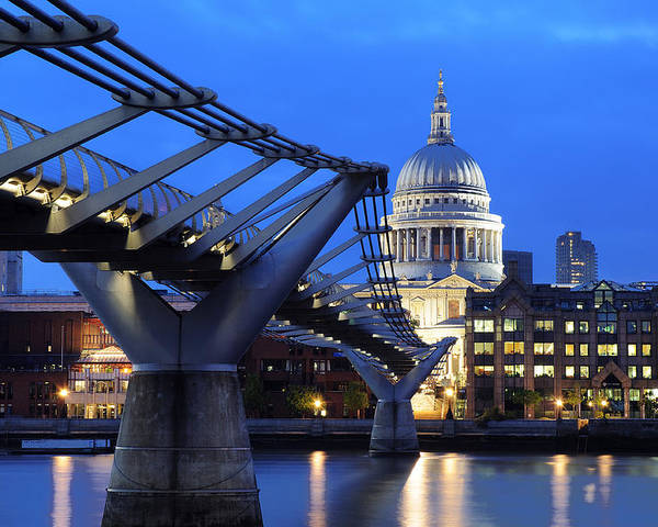 London Poster featuring the photograph Millennium Bridge And St Pauls Cathedral by Colin Woods