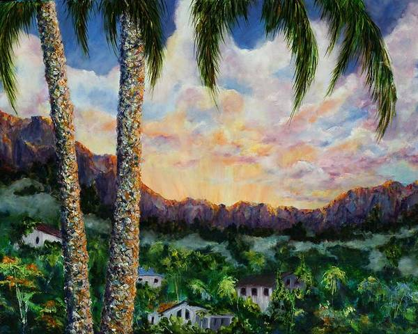 Landscape Hawaii Poster featuring the painting Miller's View by Thomas Restifo