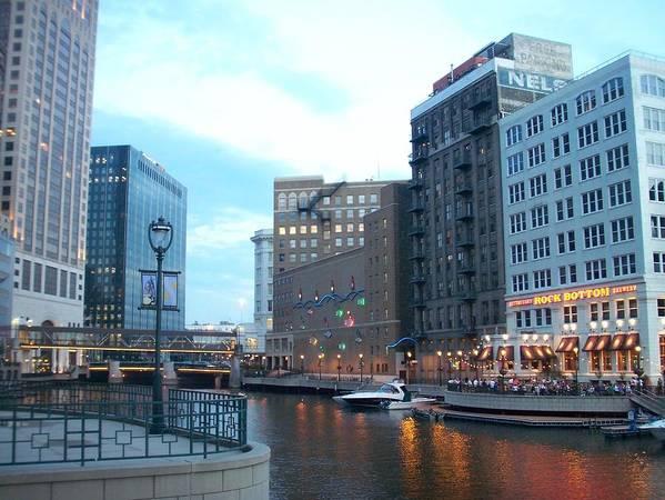 Milwaukee Poster featuring the photograph Milwaukee River Walk by Anita Burgermeister