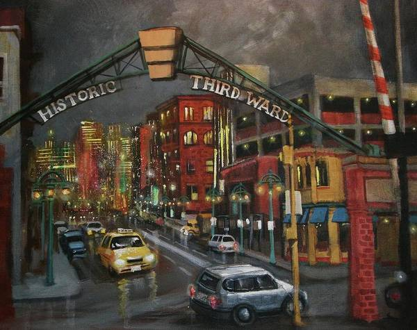 City At Night Poster featuring the painting Milwaukee's Historic Third Ward by Tom Shropshire