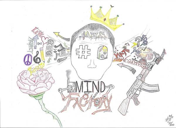Crown Poster featuring the drawing Mind Factory by Devrryn Jenkins