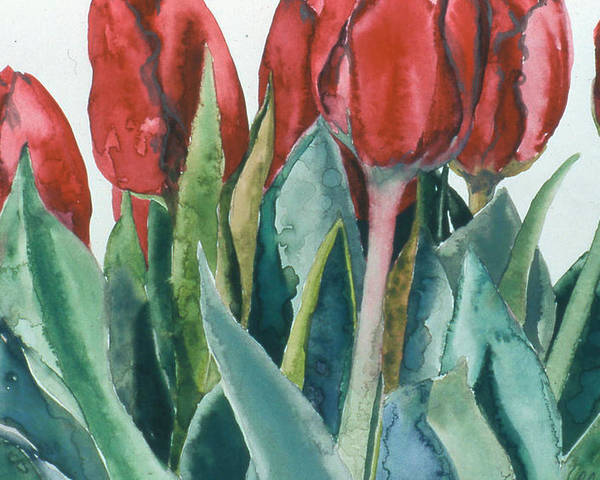 Floral Poster featuring the painting Mini-valentine Tulips - 2 by Caron Sloan Zuger