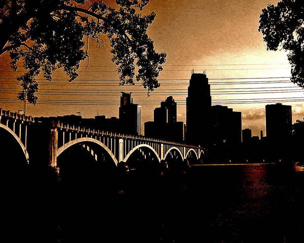 Minneapolis Poster featuring the photograph Minneapolis Skyline In Copper by Tom Reynen