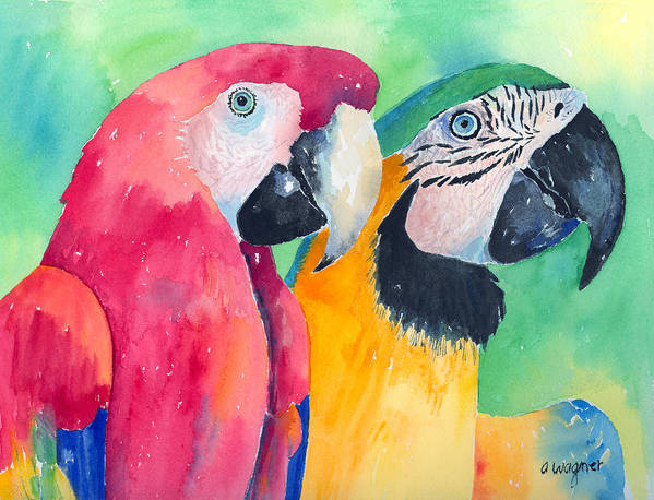 Macaw Poster featuring the painting Minnie And Boggs by Arline Wagner