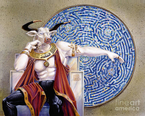 Anthropomorphic Poster featuring the painting Minotaur With Mosaic by Melissa A Benson