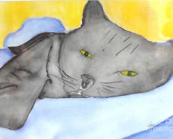 Minou Poster featuring the painting Minou by Djl Leclerc