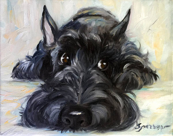 Scottie Poster featuring the painting Mischief by Mary Sparrow