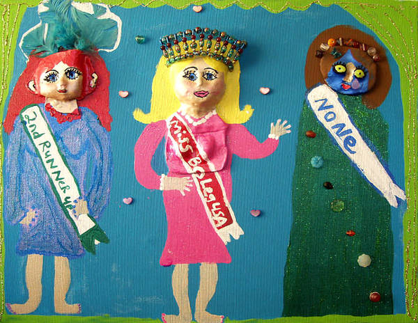 Poster featuring the mixed media Miss Bo Leg Usa by Betty Roberts