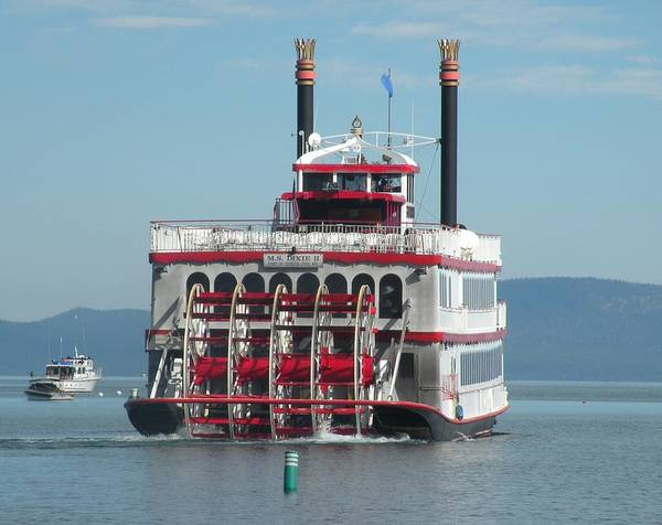 Paddle Wheel;lake Tahoe Poster featuring the photograph Missing The Boat by Peter Hennessey
