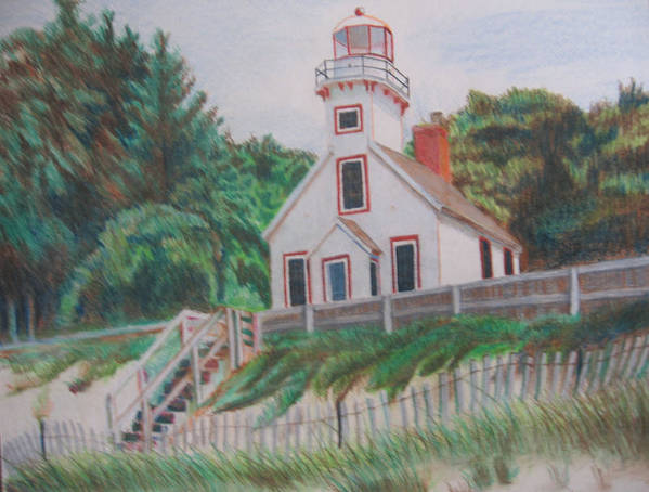 Landscape Poster featuring the drawing Mission Point Lighthouse by Matthew Handy