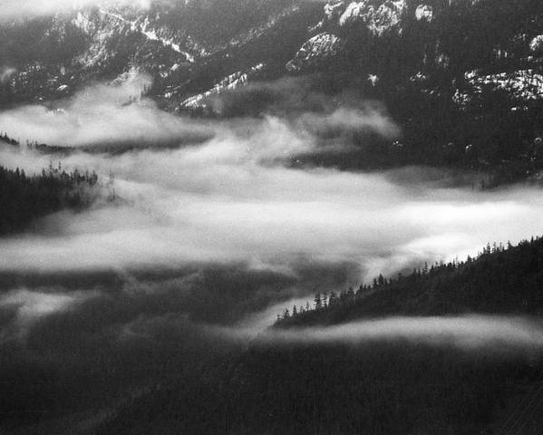 Black And White Poster featuring the photograph Mist In The Valley by Lyle Crump