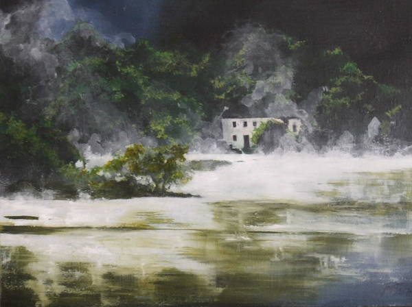 Landscape Poster featuring the painting Mist On Derwent Water by Jane Simpson