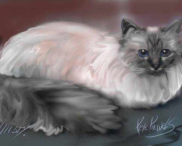 Digital Paints Poster featuring the painting Misty- A Holy Birman by Rene Pauwels