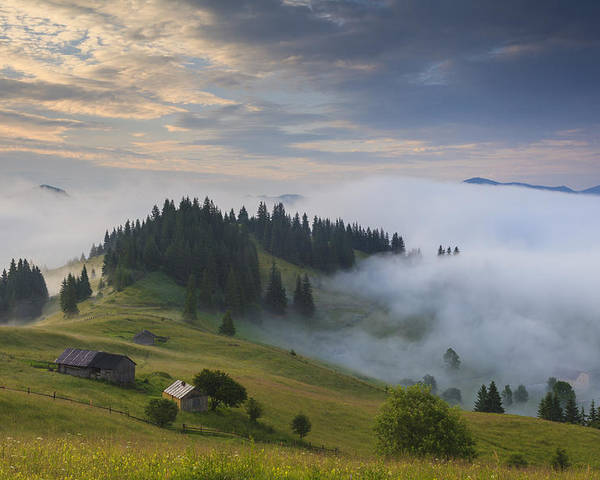 Mountain Poster featuring the photograph Misty Dawn In The Mountains by Anton Petrus