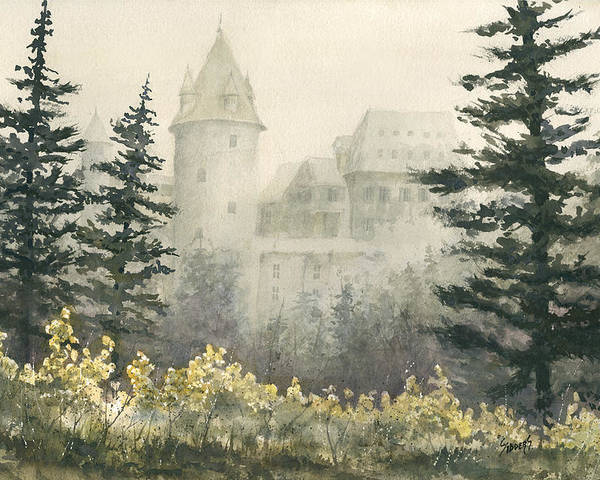 Castle Poster featuring the painting Misty Morning by Sam Sidders