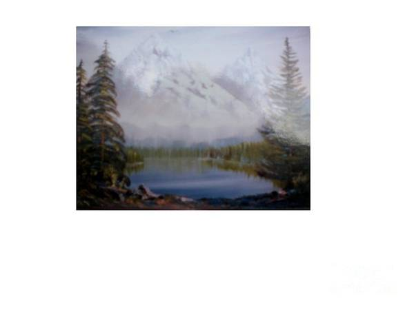 Landscape Poster featuring the painting Misty Peaks by Hal Newhouser