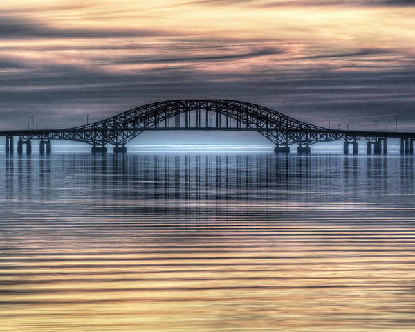 Misty Poster featuring the photograph Misty Reflective Sunrise by Vicki Jauron