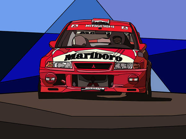 Mitsubishi Lancer Rally Car Poster By Valentin Domovic