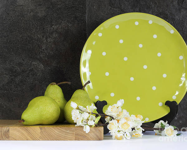 Kitchen Poster featuring the photograph Modern Green And White Polka Dot Kitchen by Milleflore Images