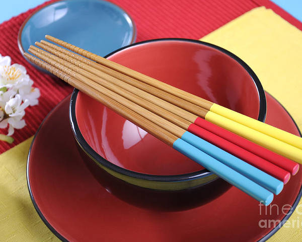 Table Setting Poster featuring the photograph Modern Japanese Oriental Place Setting by Milleflore Images