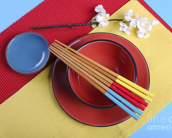 Table Setting Poster featuring the photograph Modern Take On Traditional Japanese Oriental Place Setting by Milleflore Images