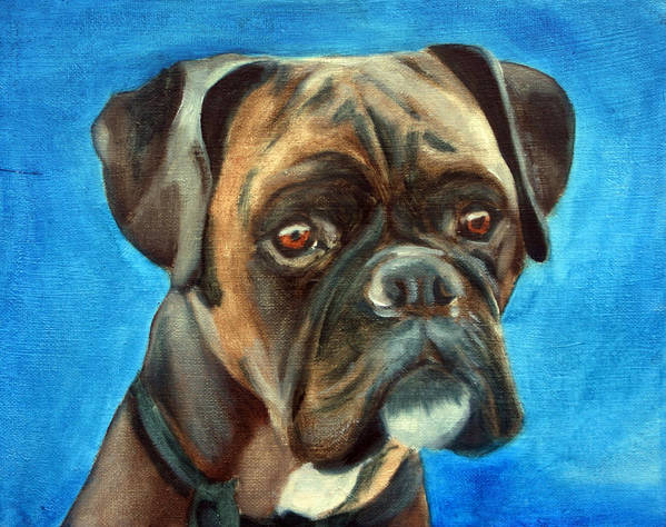 Boxer Dog Poster featuring the painting Moira by Fiona Jack
