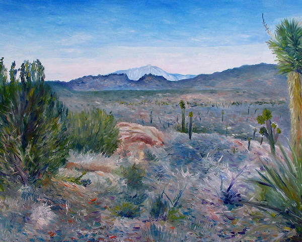 Poster featuring the painting Mojave Desert With Mt San Jacinto California Usa 2001  by Enver Larney