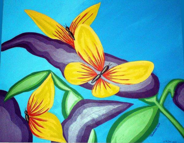 Butterflies Poster featuring the painting Mom And Me And Butterflies Too by Tammera Malicki-Wong