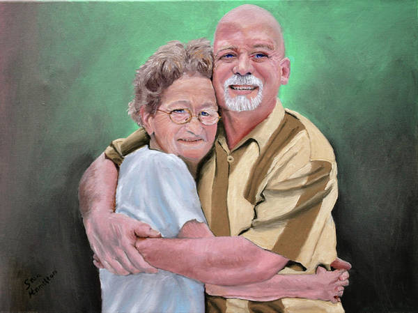Portrait Poster featuring the painting Mom And Son by Stan Hamilton