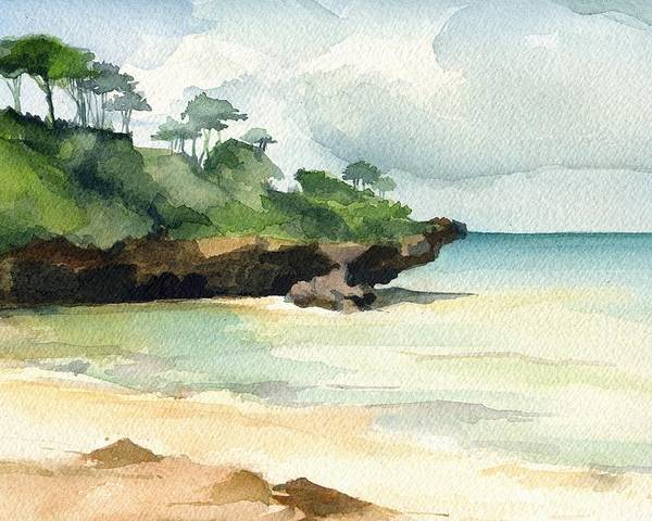 Landscape Poster featuring the painting Mombasa Beach by Stephanie Aarons