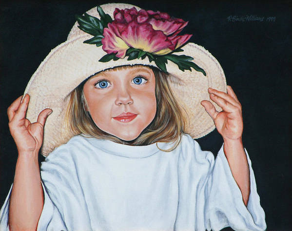 Portrait Poster featuring the painting Mommy's Hat by Penny Birch-Williams