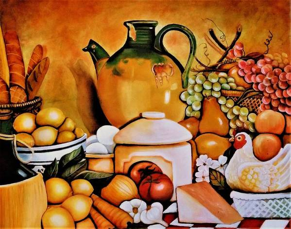 Still Life Poster featuring the painting Mom's Kitchen by Dalgis Edelson