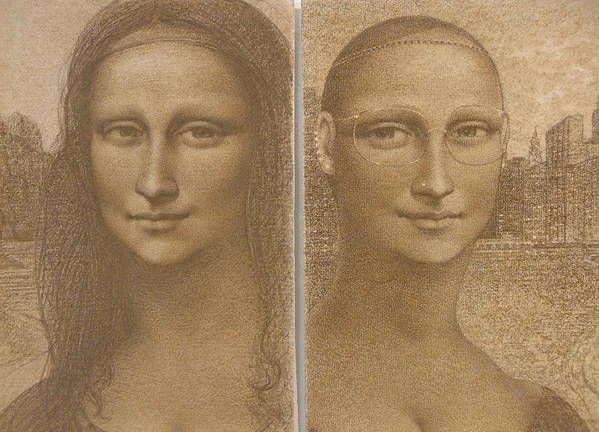 Mona Lisa Poster featuring the painting Mona Lisa Past And Present by Gary Kaemmer
