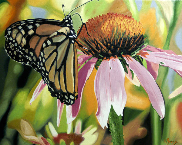 Butterfly Poster featuring the painting Monarch by Kenneth Young