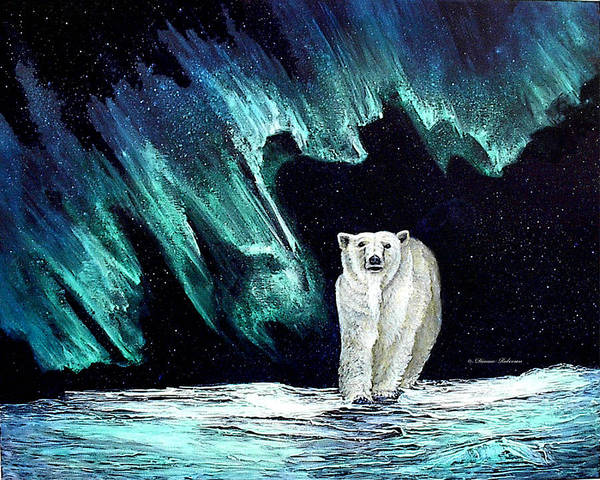 Bear Poster featuring the painting Monarch of His Arctic Domain by Dianne Roberson