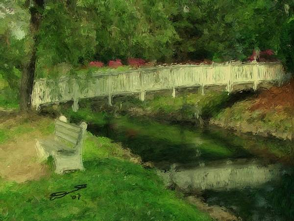 Red Water White Park Green Painting Bridge Pond Oil Bench Impressionism Monet Poster featuring the painting Monet's Bridge by Eddie Durrett
