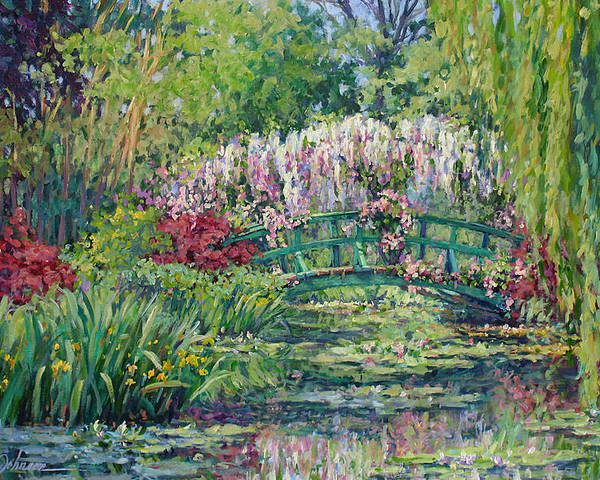 France Poster featuring the painting Monets Pond in Spring by L Diane Johnson