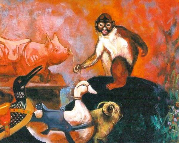 Poster featuring the painting Monkey And Toys by Christine McGinnis
