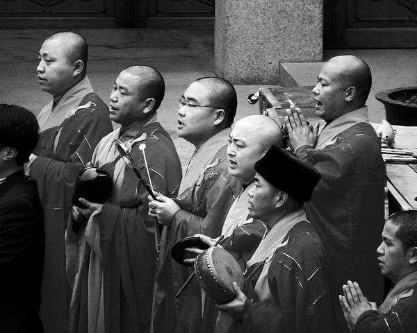 Buddha Poster featuring the photograph Monks Chanting - Jing'an Temple Shanghai by Christine Till