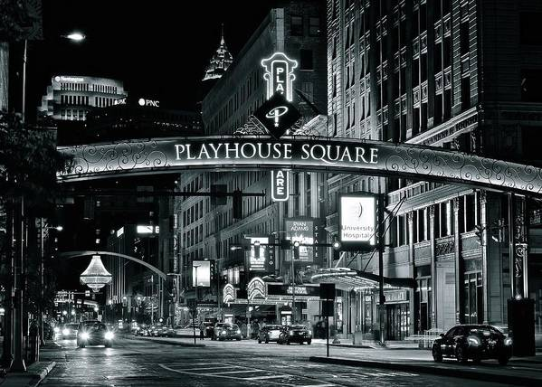 Cleveland Poster featuring the photograph Monochrome Grayscale Palyhouse Square by Frozen in Time Fine Art Photography
