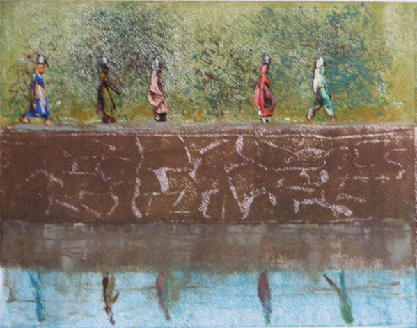 India Poster featuring the mixed media Monotype - Water Line by Libby Cagle