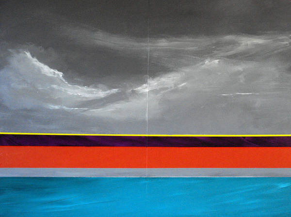 Seascape Impression Poster featuring the painting Monsoon Sky by Paul Miller