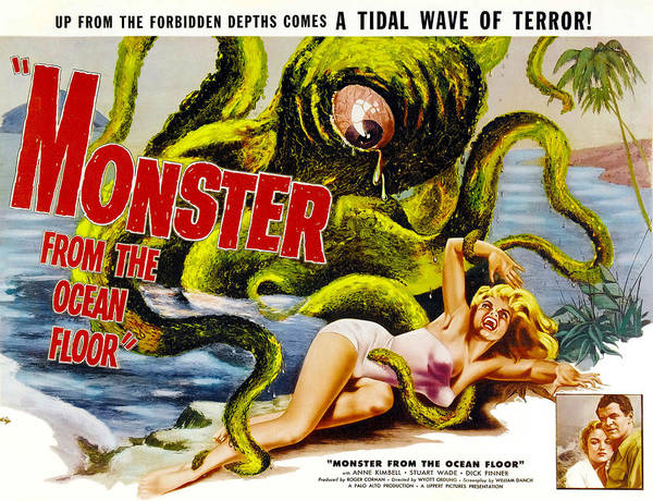 1950s Movies Poster featuring the photograph Monster From The Ocean Floor, Anne by Everett