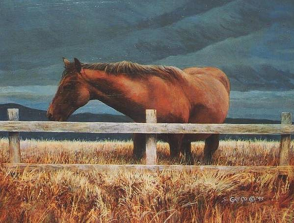 Hores Poster featuring the painting Montana Mare Study by Steve Greco