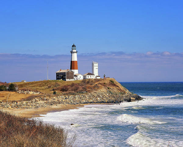 Lighthouse Poster featuring the photograph Montauk Point From Camp Hero by Tim Doubrava