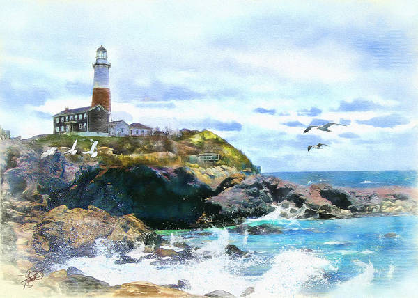 Lighthouse Poster featuring the painting Montauk Point Light by Tom Schmidt